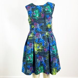 EVA FRANCO Fit And Flare Dress Jungle 10 Abstract